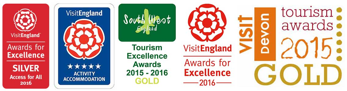 5 colour logos in a row for various awards in accessibility, tourism excellence and accommodation
