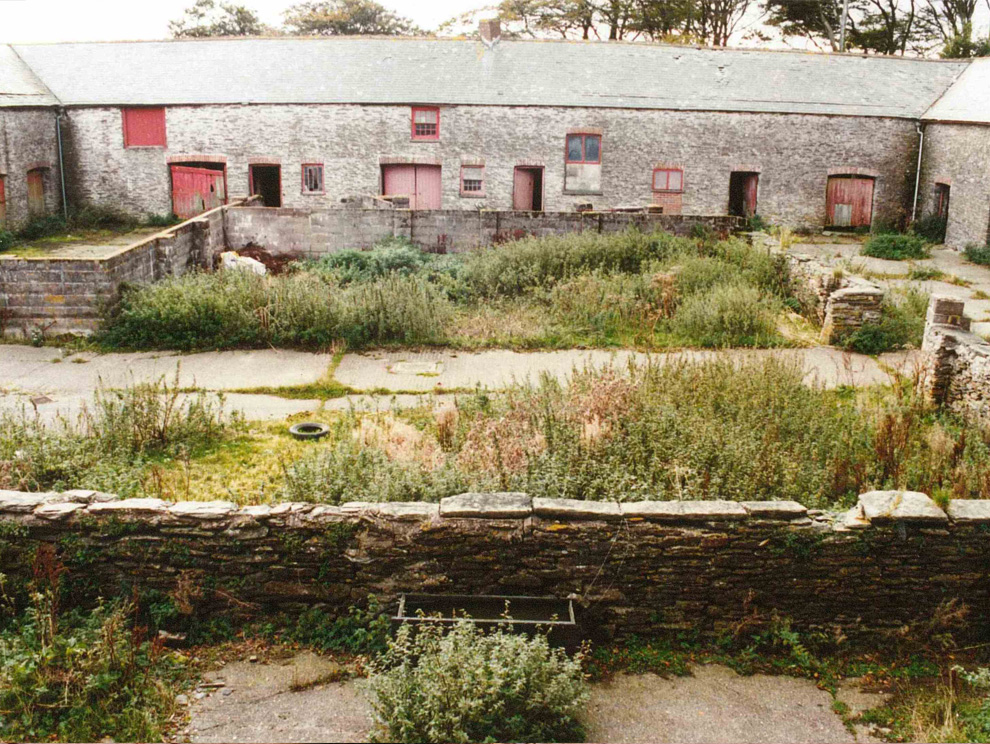 View of Victorian abandoned farm courtyard and building before being renovated