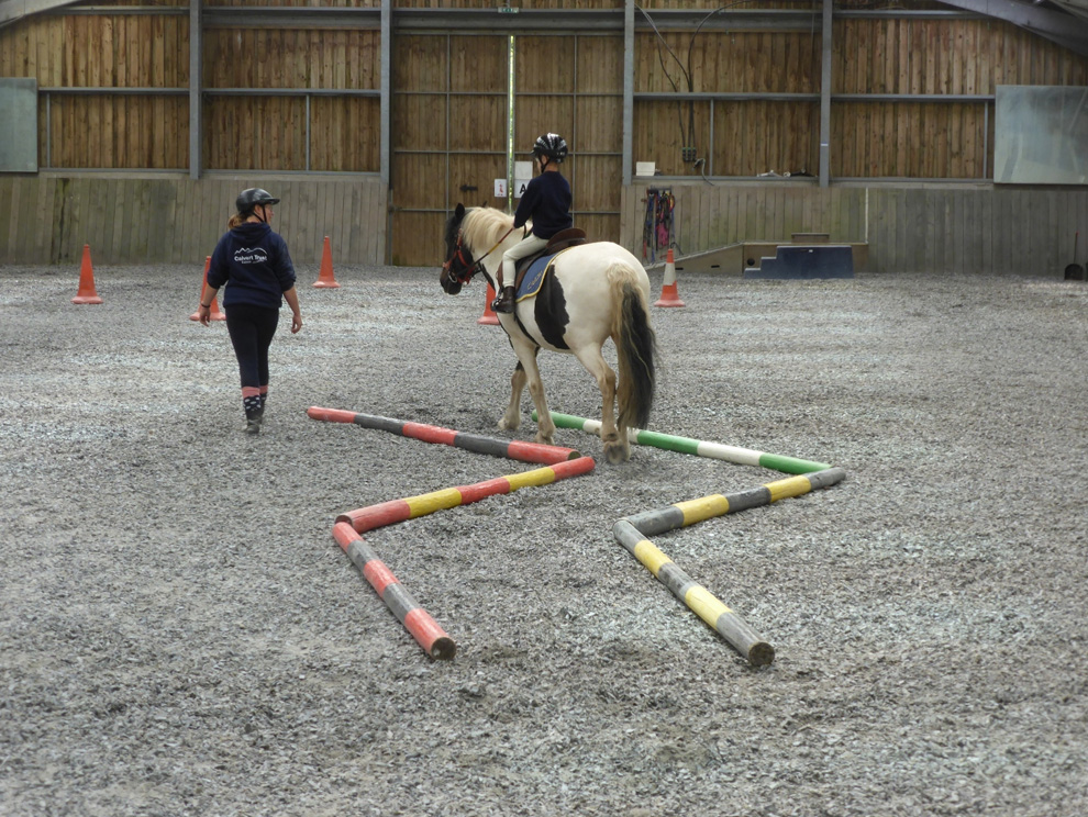 Child on brown and white horse, riding it through an obstacle course in and indoor menage with riding instructor alongside