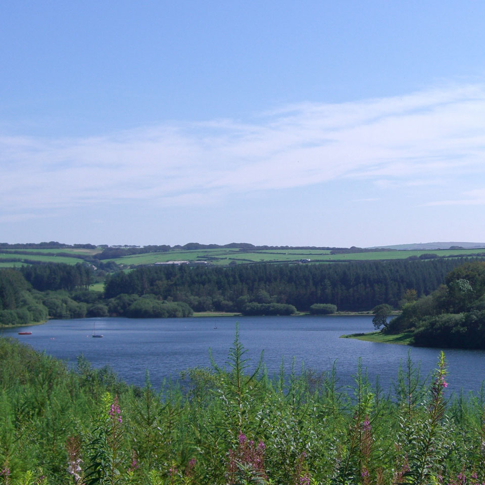 View overlooking Wistlandpound Reservoir near Exmoor, North Devon