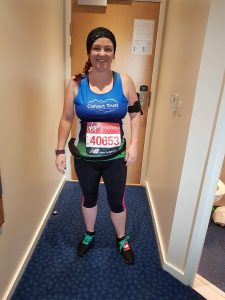 London Marathon Runner Jess on behalf of Calvert Trust Exmoor