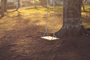 A wooden swing outside attached to a tree.