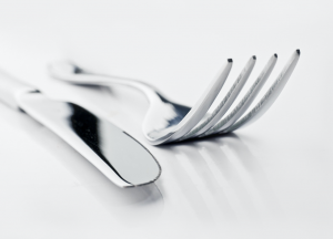 Close up of a knife and fork.