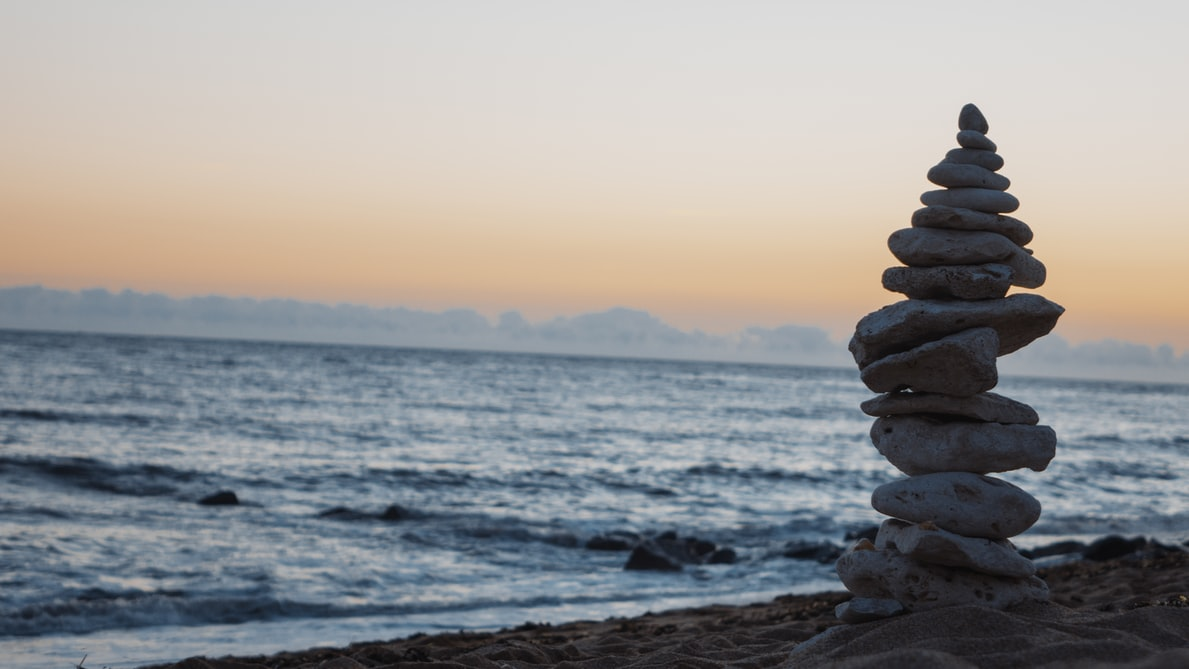 Stones at the beach balanced on top of one another
