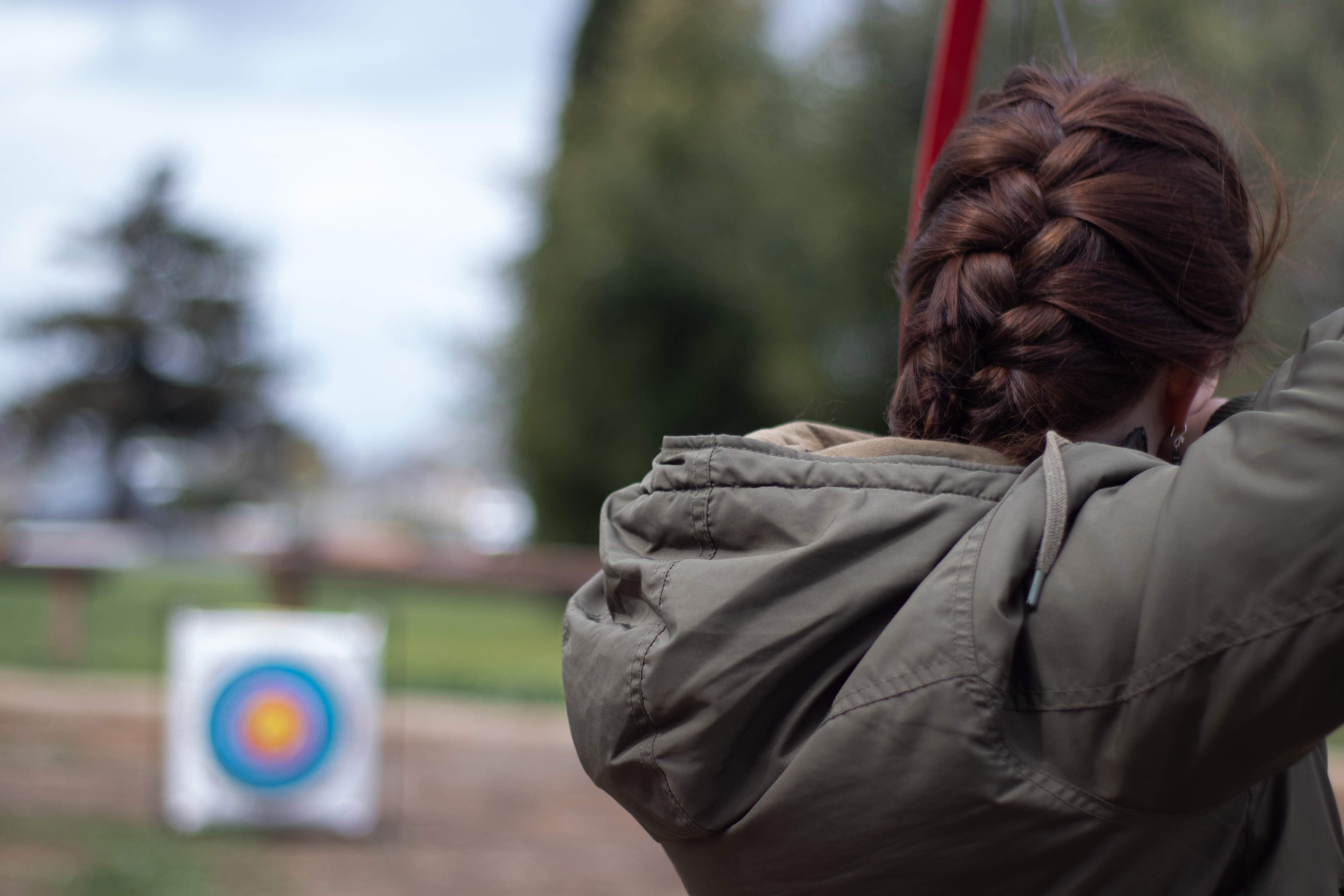 An archer lining up a shot
